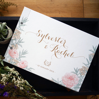 Personalised Wedding Guestbook - Peony Wonderland