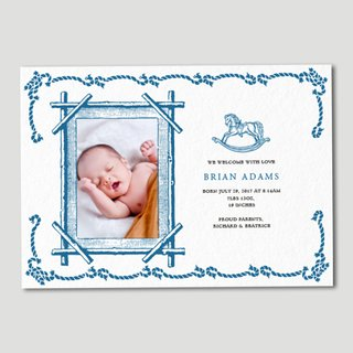 Classic Border Birth Announcement with Customisable Motif