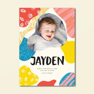 Colourful Prints Birth Announcement